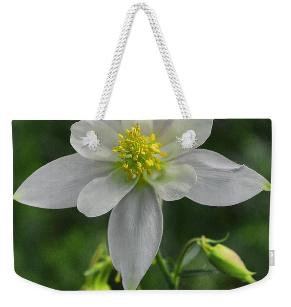 Weekender Tote Bag featuring the digital art White Star Flower by Mae Wertz