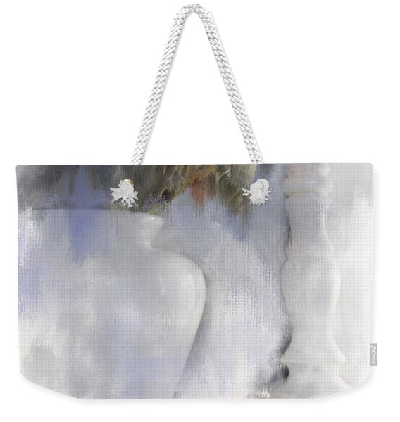 White Still Life Vase And Candlestick Weekender Tote Bag