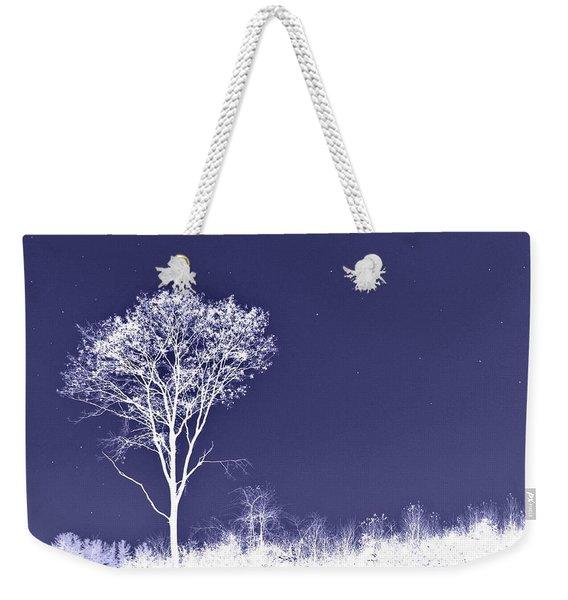 White Tree - Blue Sky - Silver Stars Weekender Tote Bag