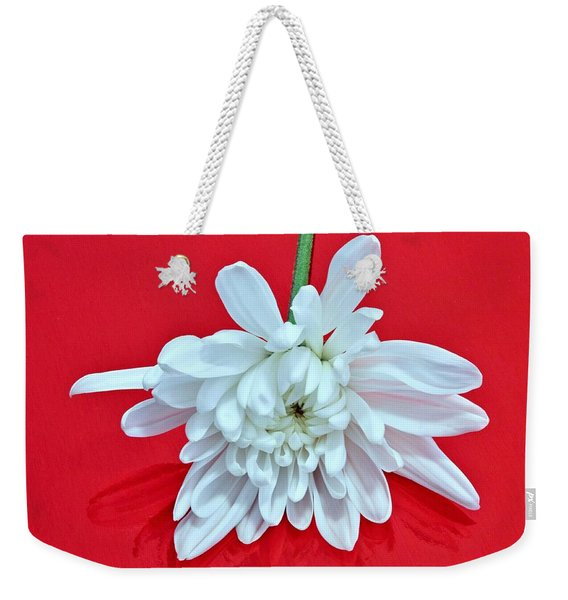 White Flower On Bright Red Background Weekender Tote Bag