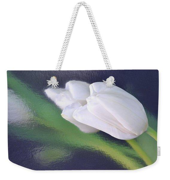 White Tulip Reflected In Dark Blue Water Weekender Tote Bag