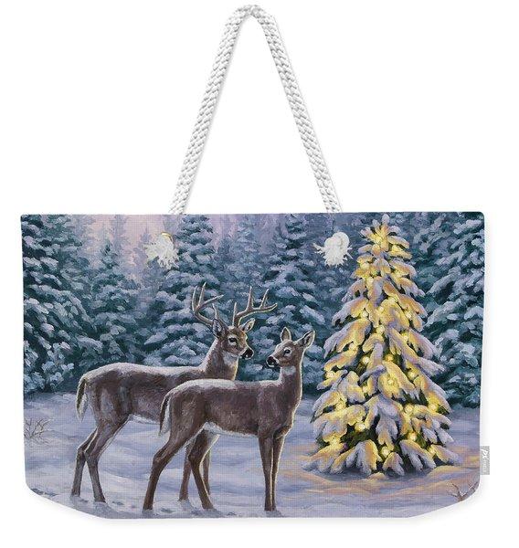 Whitetail Christmas Weekender Tote Bag