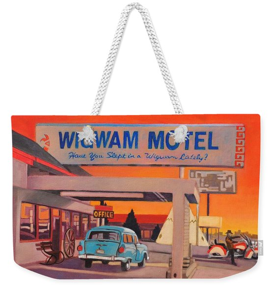 Weekender Tote Bag featuring the painting Wigwam Motel by Art West