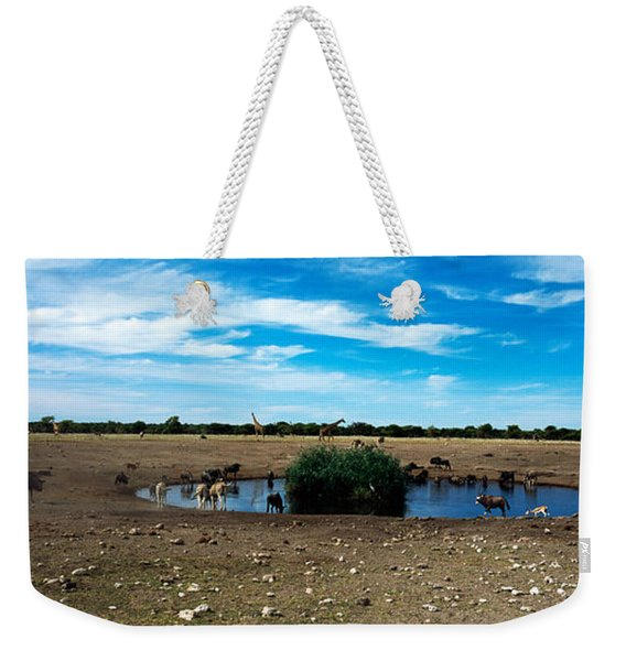 Wild Animals At A Waterhole, Etosha Weekender Tote Bag
