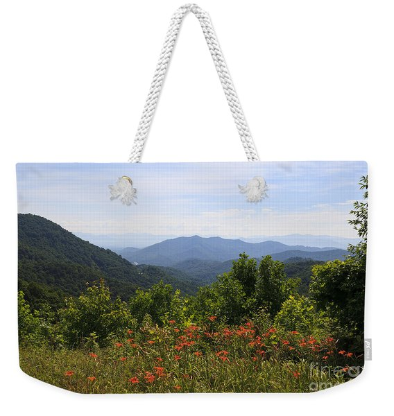 Wild Lilies With A Mountain View Weekender Tote Bag