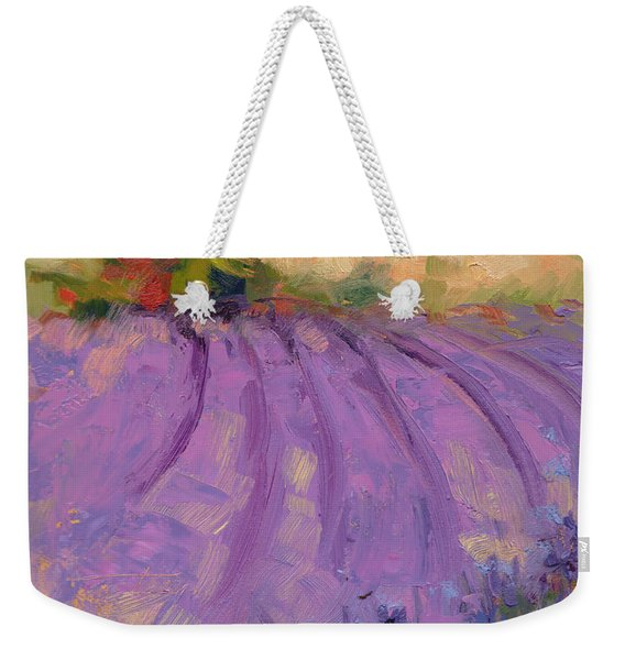 Weekender Tote Bag featuring the painting Wildrain Lavender Farm by Talya Johnson