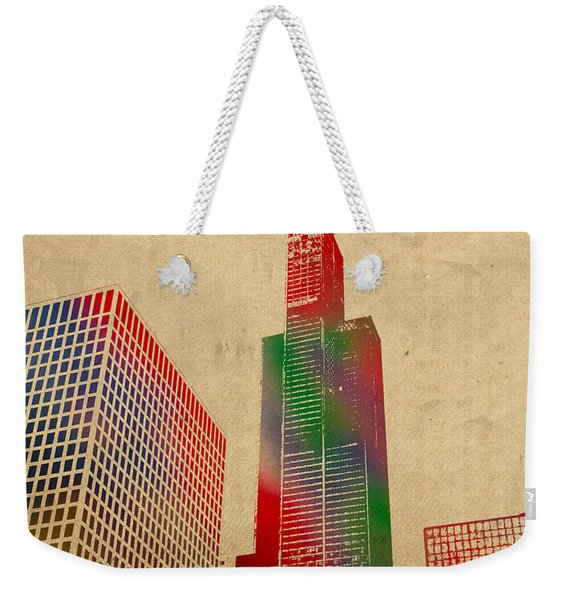 Willis Sears Tower Chicago Illinois Watercolor On Worn Canvas Series Weekender Tote Bag