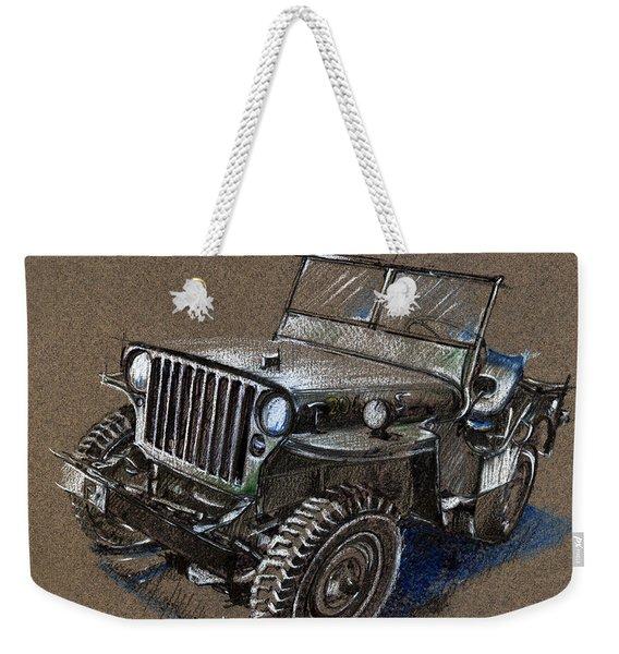 Willys Car Drawing Weekender Tote Bag