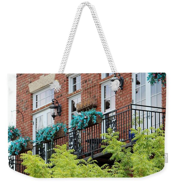Blue Flowers On A Balcony  Weekender Tote Bag
