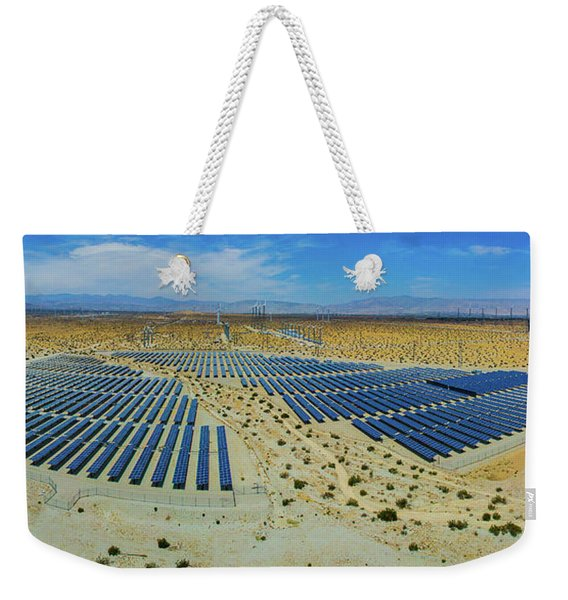 Wind Turbines And Solar Panels, Palm Weekender Tote Bag