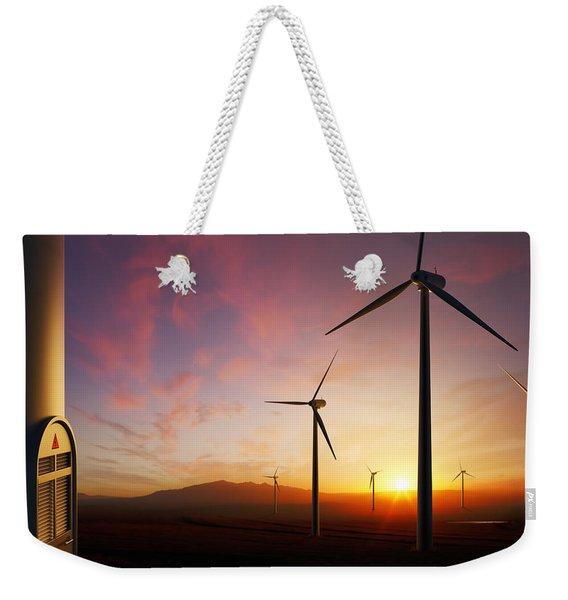 Wind Turbines At Sunset Weekender Tote Bag