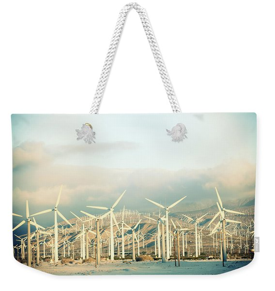 Wind Turbines With Mountains Weekender Tote Bag
