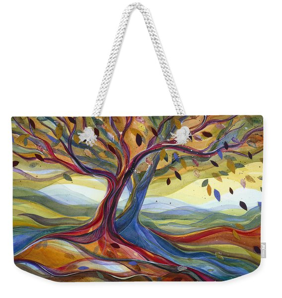 Windblown Colorful Fall Tree Weekender Tote Bag