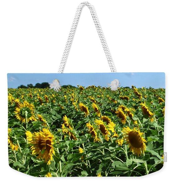 Windblown Sunflowers Weekender Tote Bag