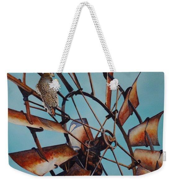 Windmill And Hawk Weekender Tote Bag