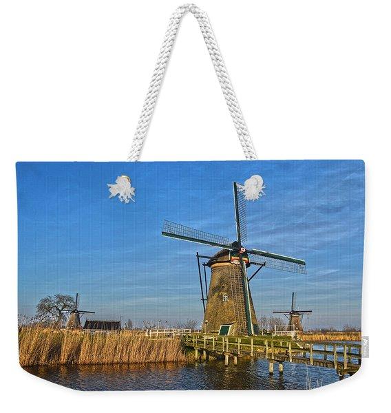 Windmills And Bridge Near Kinderdijk Weekender Tote Bag