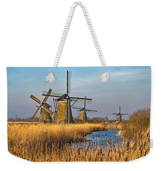 Windmills And Reeds Near Kinderdijk Weekender Tote Bag