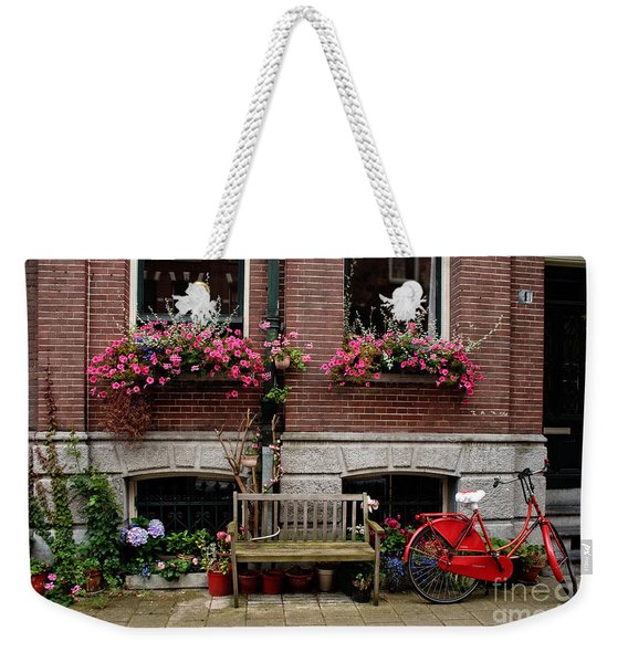 Window Box Bicycle And Bench  -- Amsterdam Weekender Tote Bag