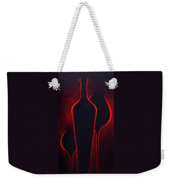 Weekender Tote Bag featuring the painting Wine Glow by Sandi Whetzel