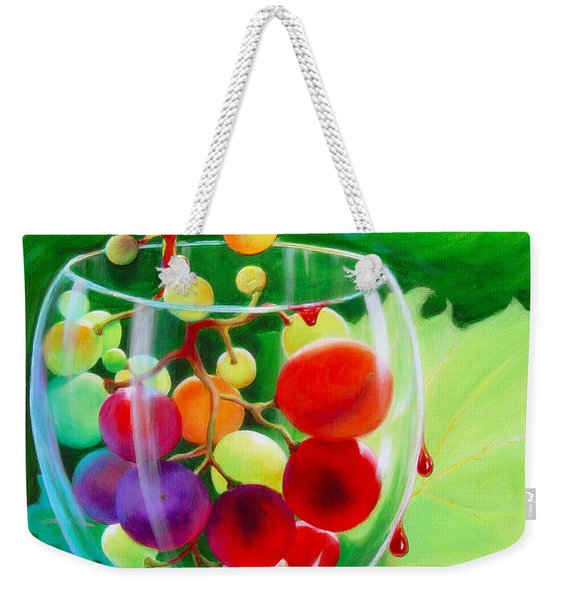 Weekender Tote Bag featuring the painting Wine On The Vine IIi by Sandi Whetzel