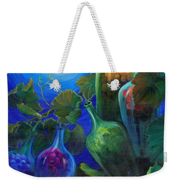 Weekender Tote Bag featuring the painting Wine On The Vine by Sandi Whetzel