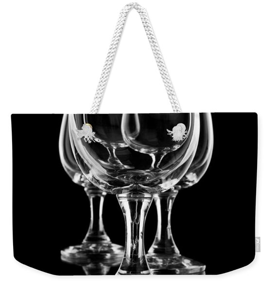 Three Empty Wine Glasses On Black One By One  Weekender Tote Bag
