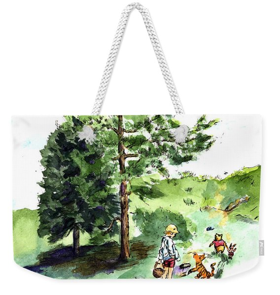 Winnie The Pooh With Christopher Robin After E H Shepard Weekender Tote Bag