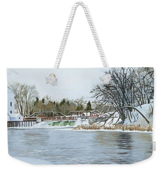 Winter At Phelps Mill Weekender Tote Bag