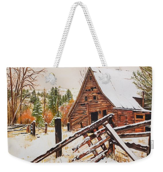 Winter - Barn - Snow In Nevada Weekender Tote Bag