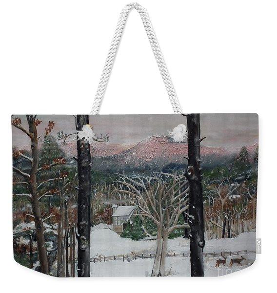 Winter - Cabin - Pink Knob Weekender Tote Bag