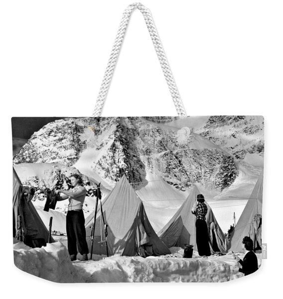 Winter Camping Weekender Tote Bag