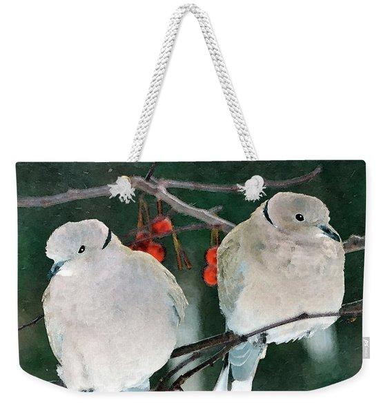 Winter Doves Weekender Tote Bag