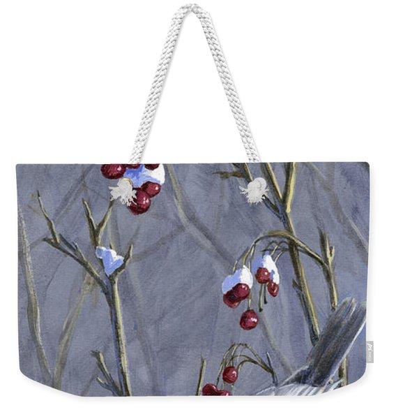 Winter Harvest 2 Chickadee Painting Weekender Tote Bag