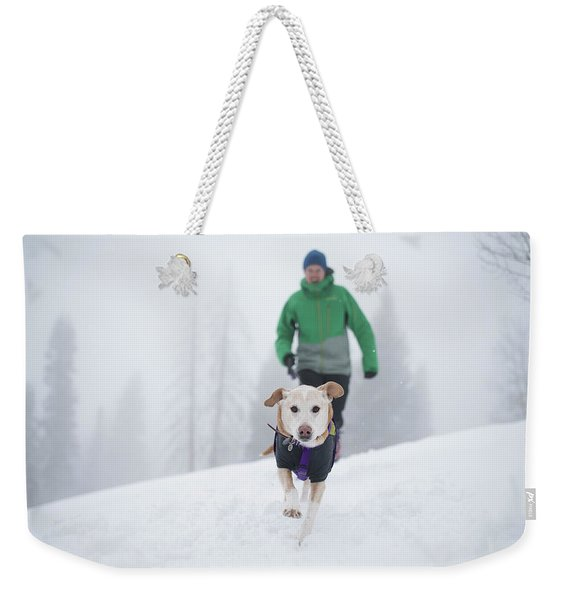 Winter Hiking With The Dog Weekender Tote Bag
