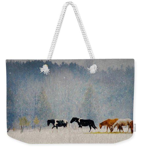 Winter Horses Weekender Tote Bag