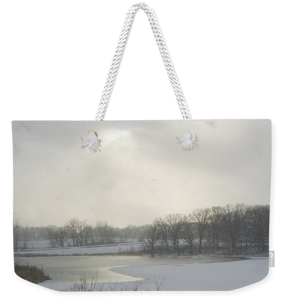 Winter Lake And Forest Weekender Tote Bag