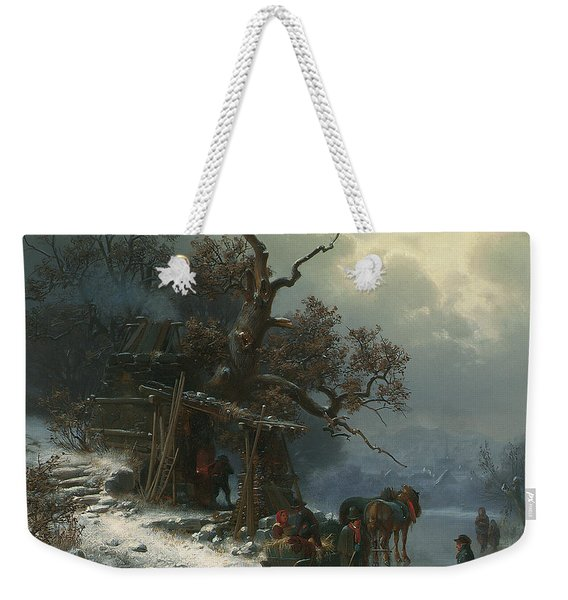 Winter Landscape With Figures On A Frozen River Weekender Tote Bag