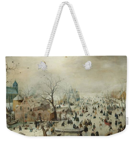 Winter Landscape With Skaters Weekender Tote Bag