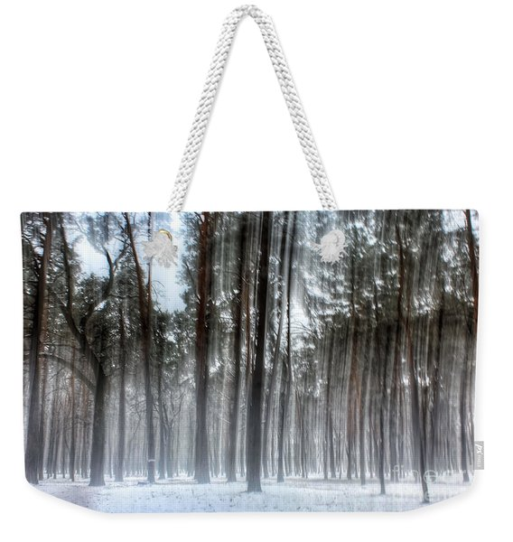 Winter Light In A Forest With Dancing Trees Weekender Tote Bag