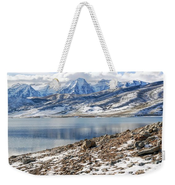 Winter Mt. Timpanogos And Deer Creek Reservoir Weekender Tote Bag