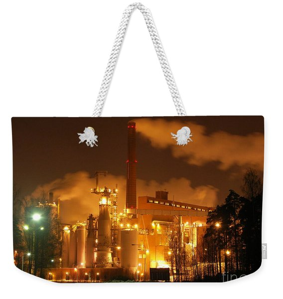 Winter Night At Sunila Pulp Mill Weekender Tote Bag