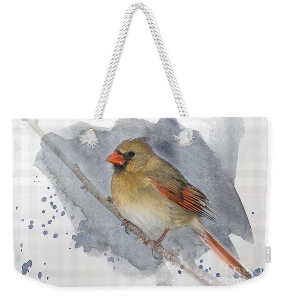 Winter Northern Cardinal Weekender Tote Bag