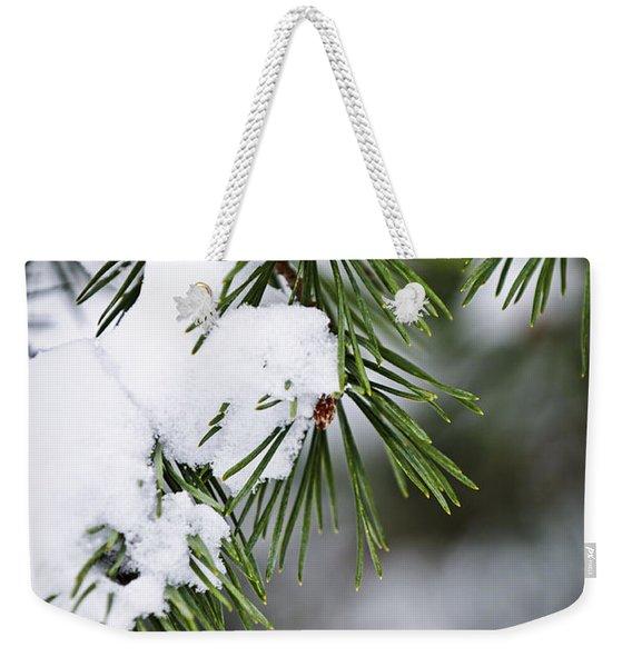 Winter Pine Branches Weekender Tote Bag