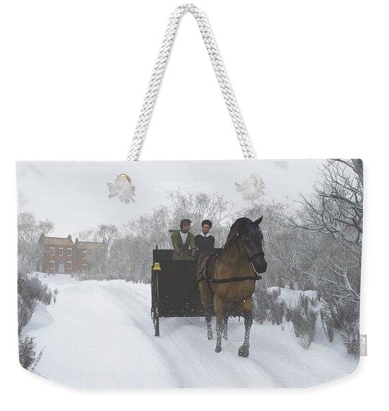 Winter Sleigh Ride Weekender Tote Bag