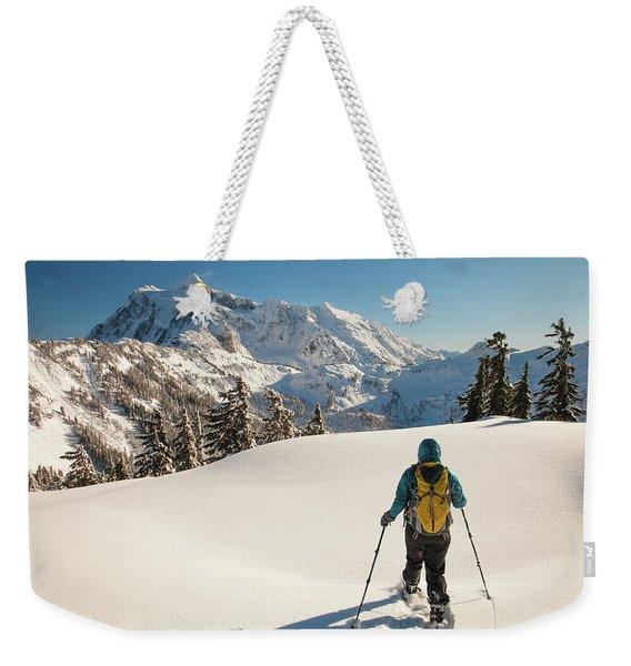 Winter Snowshoeing At Artist Point Weekender Tote Bag