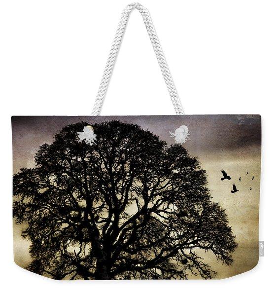 Winter Tree And Ravens Weekender Tote Bag