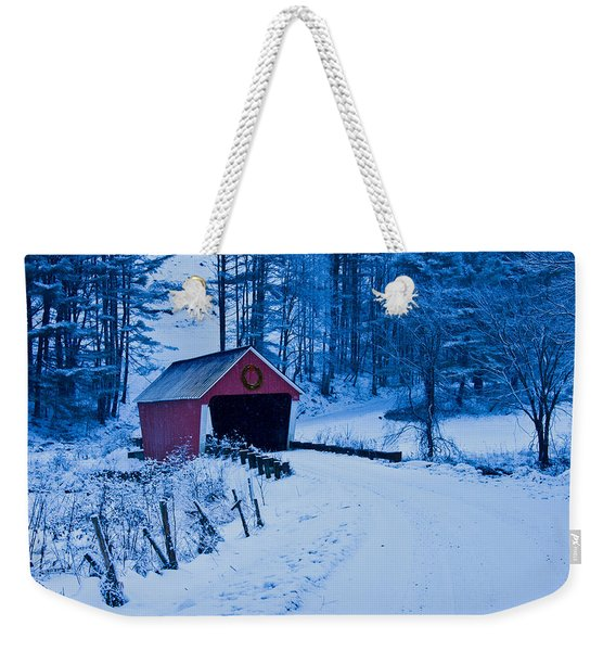 Weekender Tote Bag featuring the photograph winter Vermont covered bridge by Jeff Folger