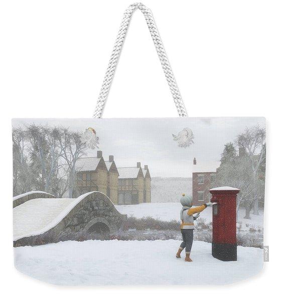 Winter Village With Postbox Weekender Tote Bag