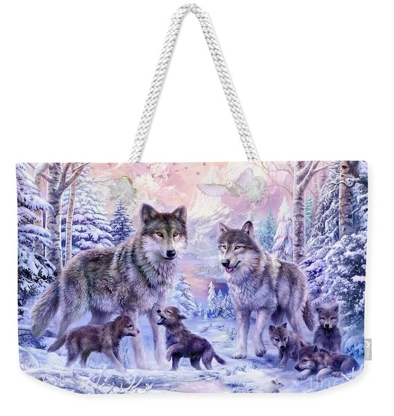 Winter Wolf Family  Weekender Tote Bag