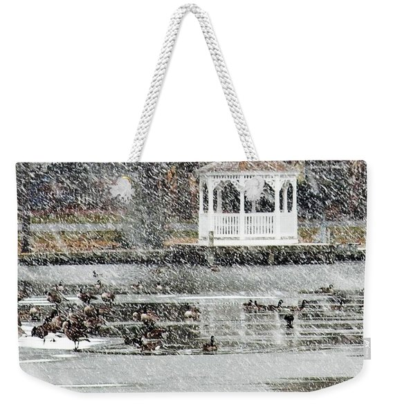 Wintering Geese On Silver Lake Weekender Tote Bag